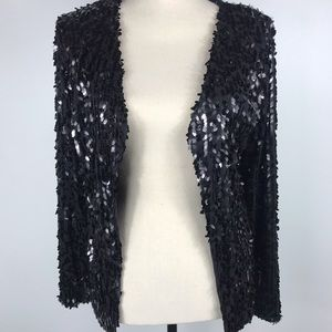 I.N.C. Black Sequin Open Front Jacket